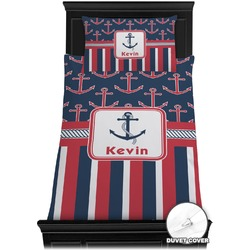 Nautical Anchors & Stripes Duvet Cover Set - Toddler (Personalized)