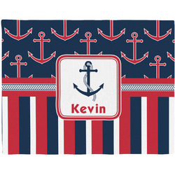 Nautical Anchors & Stripes Woven Fabric Placemat - Twill w/ Name or Text
