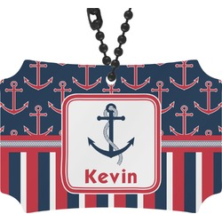 Nautical Anchors & Stripes Rear View Mirror Ornament (Personalized)
