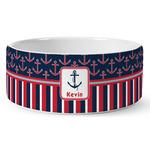Nautical Anchors & Stripes Ceramic Dog Bowl (Personalized)