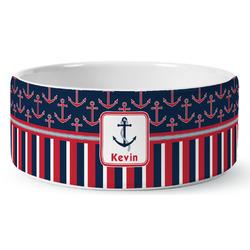 Nautical Anchors & Stripes Ceramic Pet Bowl (Personalized)