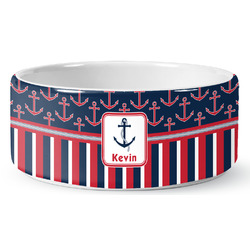 Nautical Anchors & Stripes Ceramic Pet Bowl (Personalized)
