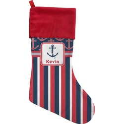 Nautical Anchors & Stripes Christmas Stocking (Personalized)