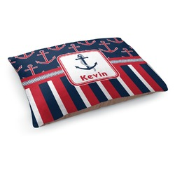 Nautical Anchors & Stripes Dog Pillow Bed (Personalized)