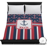 Nautical Anchors & Stripes Duvet Cover (Personalized)