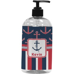 Nautical Anchors & Stripes Plastic Soap / Lotion Dispenser (Personalized)