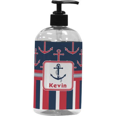 Nautical Anchors & Stripes Plastic Soap / Lotion Dispenser (Personalized)