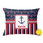 Nautical Anchors & Stripes Outdoor Throw Pillow (Rectangular) (Personalized)