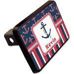 "Nautical Anchors & Stripes Rectangular Trailer Hitch Cover - 2"" (Personalized)"