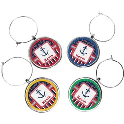 Nautical Anchors & Stripes Wine Charms (Set of 4) (Personalized)