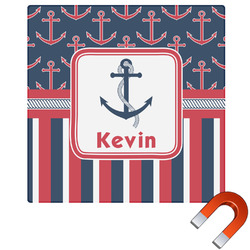 Nautical Anchors & Stripes Square Car Magnet (Personalized)
