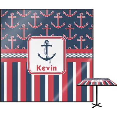 Nautical Anchors & Stripes Square Table Top (Personalized)