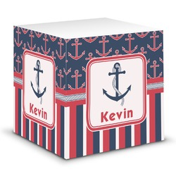 Nautical Anchors & Stripes Sticky Note Cube (Personalized)