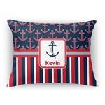 Nautical Anchors & Stripes Rectangular Throw Pillow Case (Personalized)