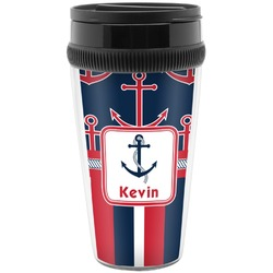 Nautical Anchors & Stripes Travel Mug (Personalized)