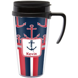 Nautical Anchors & Stripes Travel Mug with Handle (Personalized)