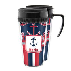 Nautical Anchors & Stripes Acrylic Travel Mugs (Personalized)