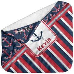 Nautical Anchors & Stripes Baby Hooded Towel (Personalized)