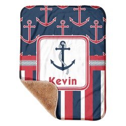 "Nautical Anchors & Stripes Sherpa Baby Blanket 30"" x 40"" (Personalized)"
