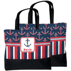 Nautical Anchors & Stripes Beach Tote Bag (Personalized)