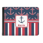 Nautical Anchors & Stripes Genuine Leather Men's Bi-fold Wallet (Personalized)