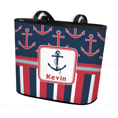 Nautical Anchors & Stripes Bucket Tote w/ Genuine Leather Trim (Personalized)
