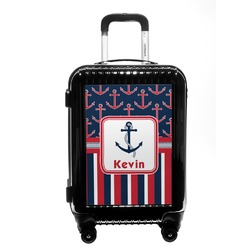 Nautical Anchors & Stripes Carry On Hard Shell Suitcase (Personalized)