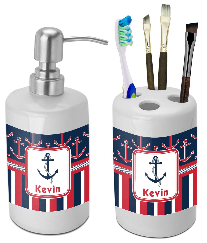 Nautical Anchors & Stripes Bathroom Accessories Set (Ceramic ...