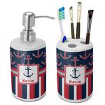 Nautical Anchors & Stripes Ceramic Bathroom Accessories Set (Personalized)