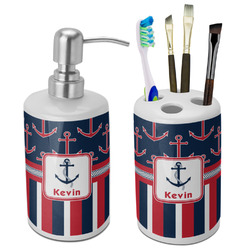 Nautical Anchors & Stripes Ceramic Bathroom Accessories Set (Personalized)