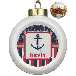 Nautical Anchors & Stripes Ceramic Ball Ornaments - Poinsettia Garland (Personalized)