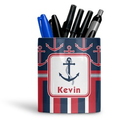 Nautical Anchors & Stripes Ceramic Pen Holder