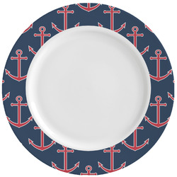 Nautical Anchors & Stripes Ceramic Dinner Plates (Set of 4) (Personalized)