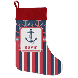 Nautical Anchors & Stripes Holiday Stocking w/ Name or Text