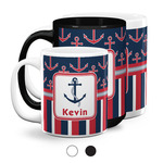 Nautical Anchors & Stripes Coffee Mugs (Personalized)