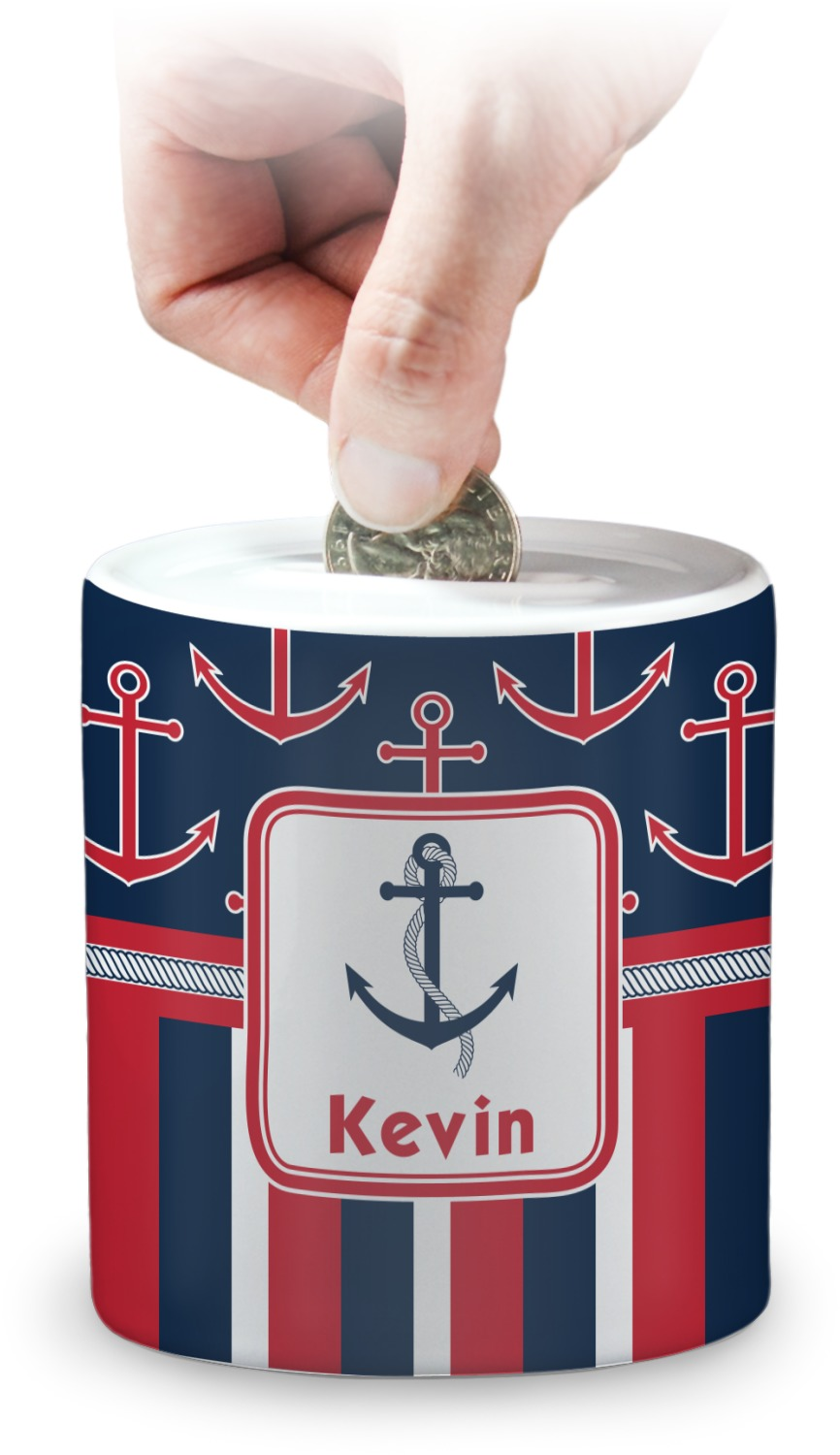 Nautical anchors stripes coin bank personalized youcustomizeit - Nautical piggy banks ...