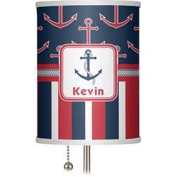 "Nautical Anchors & Stripes 7"" Drum Lamp Shade (Personalized)"