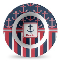 Nautical Anchors & Stripes Plastic Bowl - Microwave Safe - Composite Polymer (Personalized)