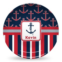 Nautical Anchors & Stripes Microwave Safe Plastic Plate - Composite Polymer (Personalized)