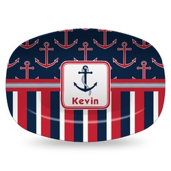 Nautical Anchors & Stripes Plastic Platter - Microwave & Oven Safe Composite Polymer (Personalized)