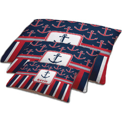 Nautical Anchors & Stripes Dog Bed w/ Name or Text
