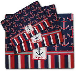 Nautical Anchors & Stripes Dog Food Mat w/ Name or Text