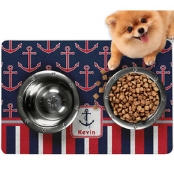 Nautical Anchors & Stripes Dog Food Mat - Small w/ Name or Text
