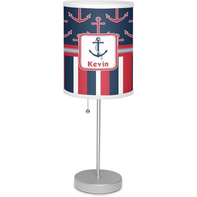 """Nautical Anchors & Stripes 7"""" Drum Lamp with Shade (Personalized)"""