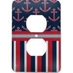 Nautical Anchors & Stripes Electric Outlet Plate (Personalized)