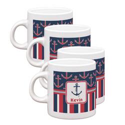 Nautical Anchors & Stripes Espresso Mugs - Set of 4 (Personalized)