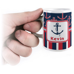 Nautical Anchors & Stripes Espresso Cups (Personalized)
