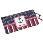 Nautical Anchors & Stripes Genuine Leather Eyeglass Case (Personalized)