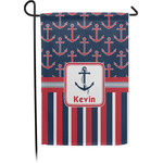Nautical Anchors & Stripes Garden Flag - Single or Double Sided (Personalized)