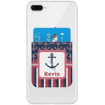 Nautical Anchors & Stripes Genuine Leather Adhesive Phone Wallet (Personalized)